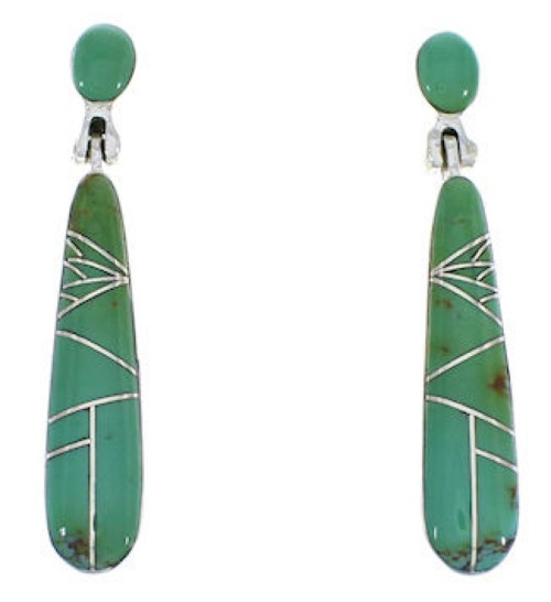 Genuine Sterling Silver Turquoise Inlay Earrings EX31687