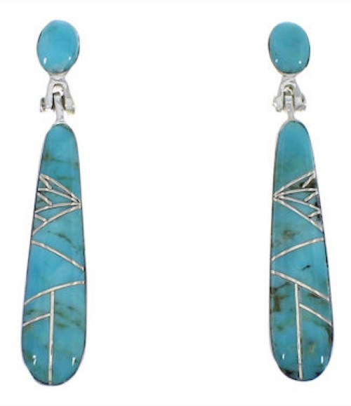 Genuine Sterling Silver And Turquoise Earrings EX31694