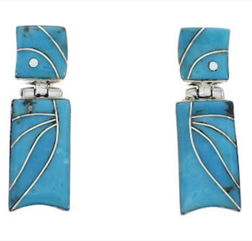 Turquoise Inlay Southwestern Silver Earrings EX31707