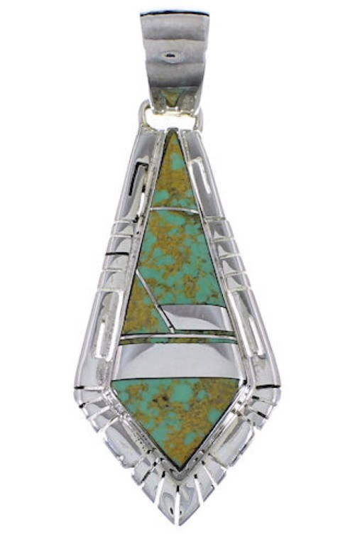 Southwestern Silver And Turquoise Pendant EX31742