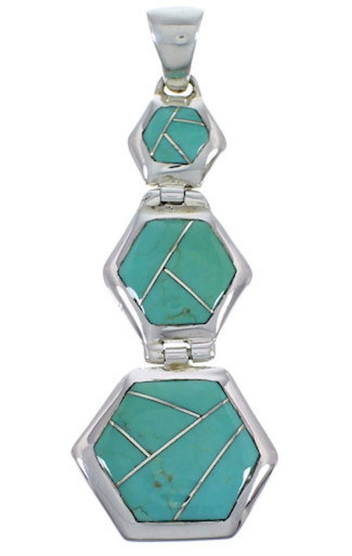 Turquoise Inlay Sterling Silver High Quality Southwest Pendant PX30600