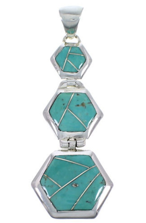Genuine Sterling Silver Well-Built Turquoise Pendant Jewelry PX30602