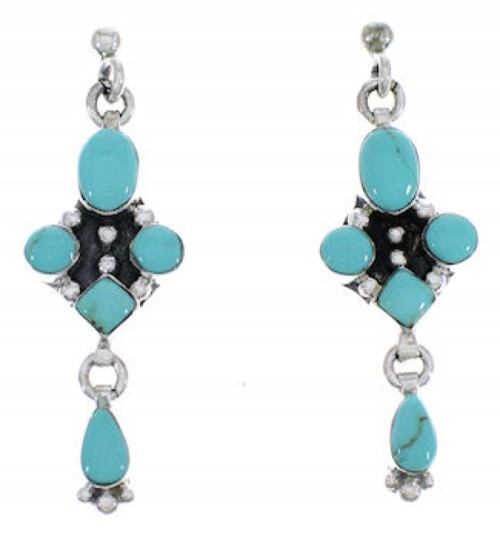 Turquoise Sterling Silver Southwest Post Dangle Earrings FX30845