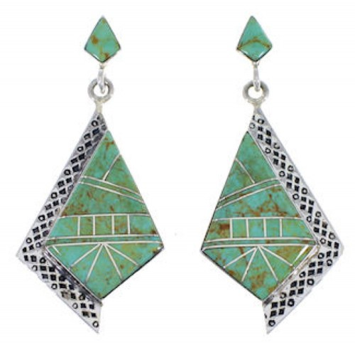 Silver And Turquoise Jewelry Post Dangle Earrings FX30851