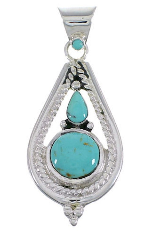 Turquoise Jewelry Southwest Sterling Silver Pendant FX30876