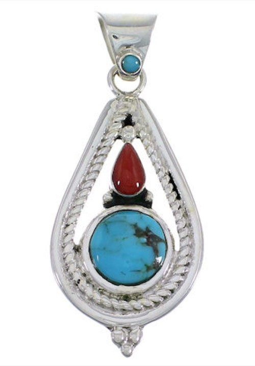 Turquoise Coral Southwest Sterling Silver Pendant FX30884