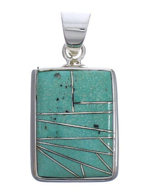 Silver Substantial Southwest Turquoise Pendant Jewelry PX29379
