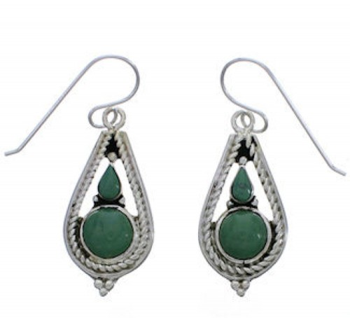 Sterling Silver Turquoise Southwestern Hook Dangle Earrings EX31354