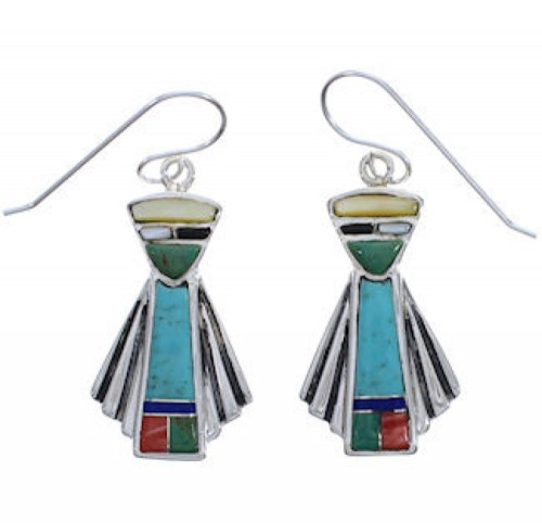 Southwestern Multicolor And Silver Hook Dangle Earrings EX31368