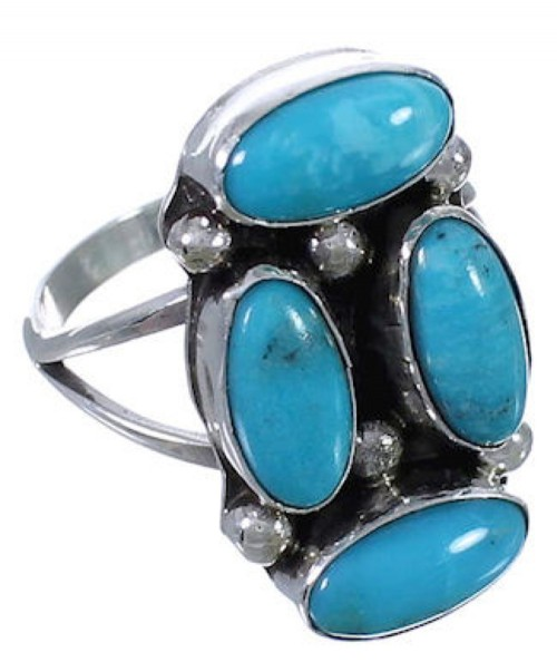 Turquoise Navajo Indian Jewelry Silver Ring Size 7-3/4 EX29833