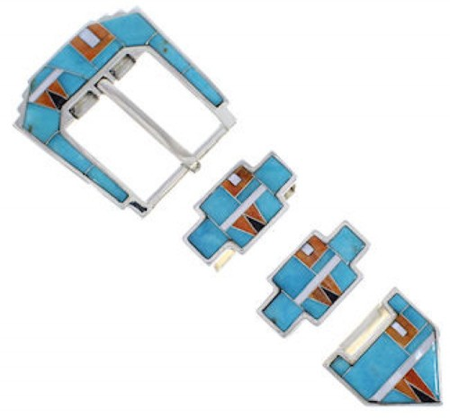 Sterling Silver Turquoise Multi Color Inlay Ranger Belt Buckle RS39300