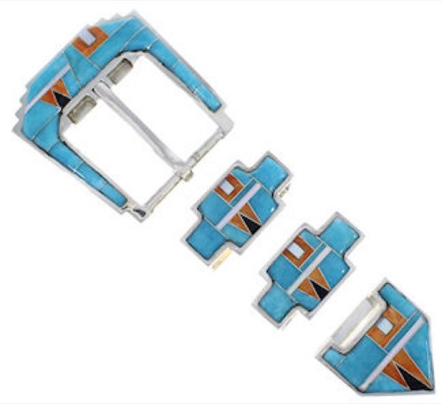 Sterling Silver Turquoise Multicolor Inlay Ranger Belt Buckle RS39296