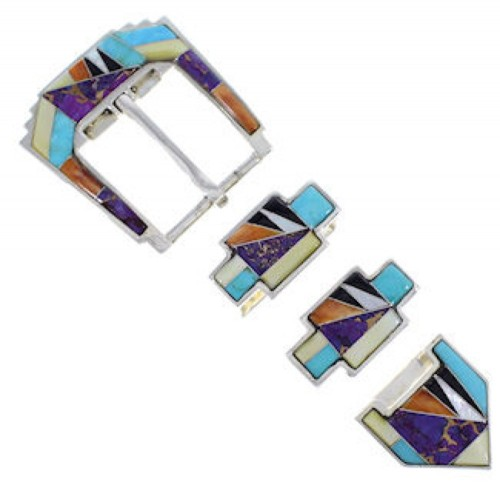 Turquoise Multicolor Inlay Sterling Silver Ranger Belt Buckle RS39320
