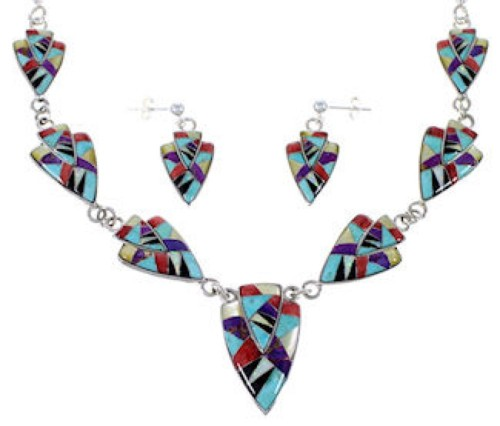 Sterling Silver Multicolor Link Necklace Earrings Jewelry Set RS34215