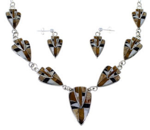 Silver Tiger Eye Multicolor Link Necklace Earrings Jewelry Set NS41225