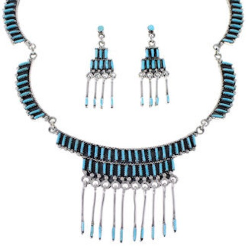 Silver Turquoise Link Necklace Earrings Southwest Jewelry Set RS51724