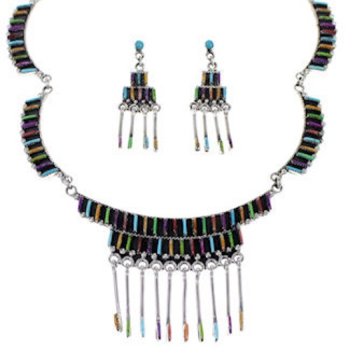 Southwest Multicolor Sterling Silver Needlepoint Link Necklace Set WX78005