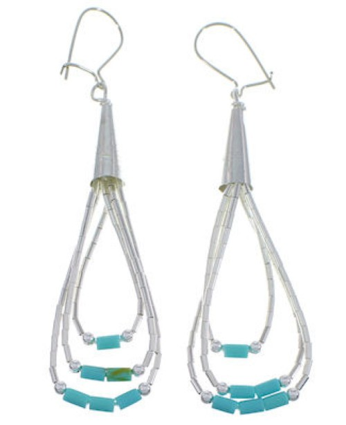 Hand Strung Liquid Silver Green Turquoise Hook Earrings LS24GT