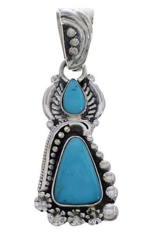 Southwest Jewelry Turquoise Flower And Silver Pendant PX29717
