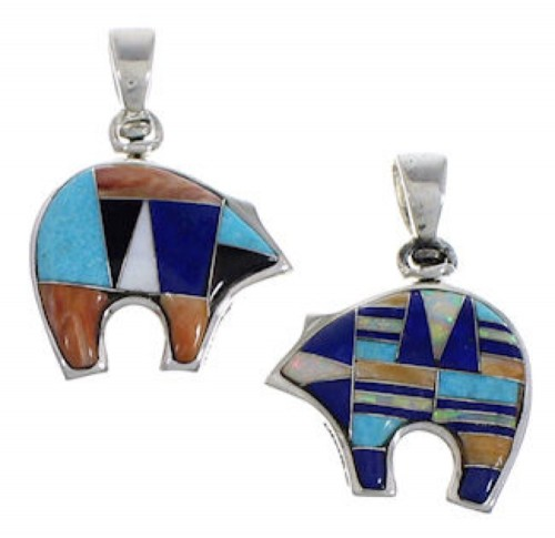 Sterling Silver Turquoise Multicolor Reversible Bear Pendant DS36916