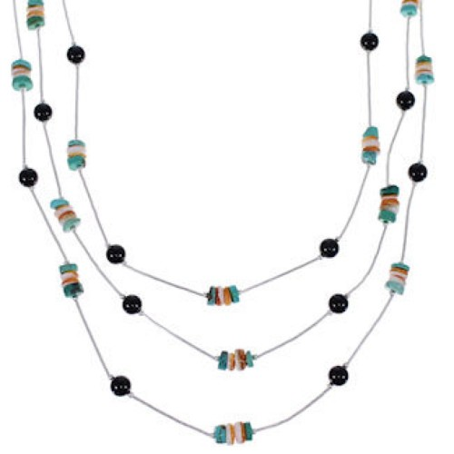 Liquid Turquoise Onyx Oyster Shell 3-Strand Bead Necklace RS56029