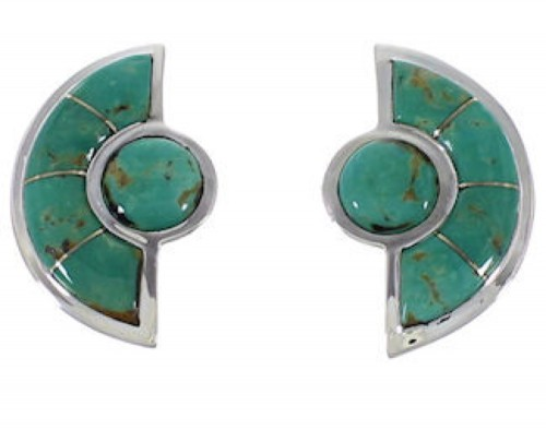 Southwestern Silver And Turquoise Post Earrings AX49315