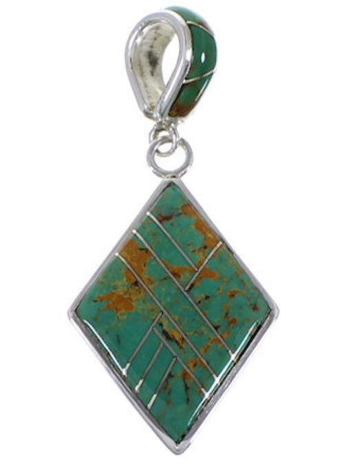 Southwest Sterling Silver Turquoise Inlay Pendant AX49362