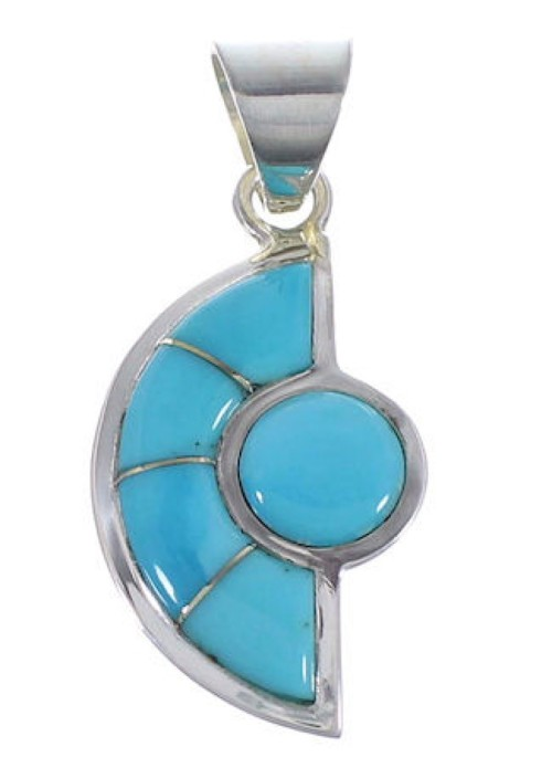 Turquoise Inlay Sterling Silver Pendant AX49417