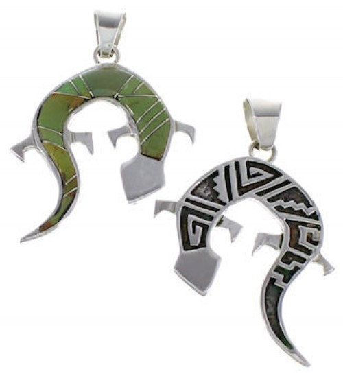Gecko Water Wave Silver Turquoise Reversible Pendant AX49422