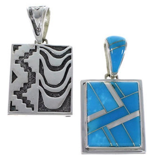 Silver And Turquoise Reversible Pendant AX49432