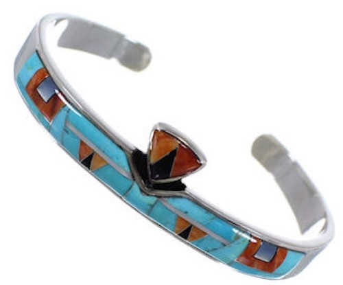 Oyster Shell  Multicolor Inlay Sterling Silver Cuff Bracelet NS40443