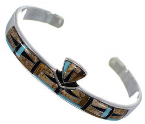 Tiger Eye Multicolor Inlay Sterling Silver Cuff Bracelet NS40436