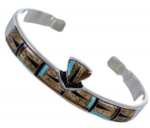 Multicolor Turquoise Sterling Silver Cuff Bracelet Jewelry NS40441