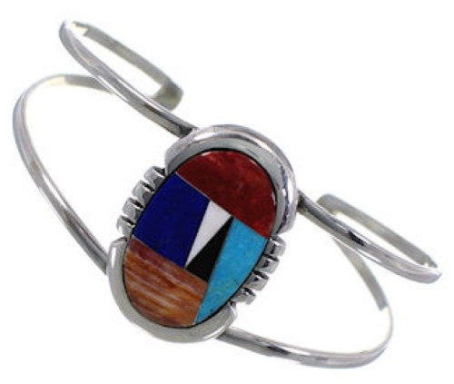 Multicolor Inlay Genuine Sterling Silver Cuff Bracelet AS29288