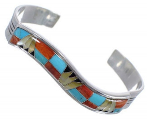 Multicolor Inlay Sterling Silver Cuff Bracelet AS39732
