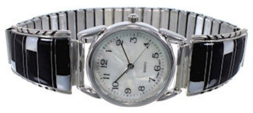 Silver Mother Of Pearl And Black Inlay Watch NS38096