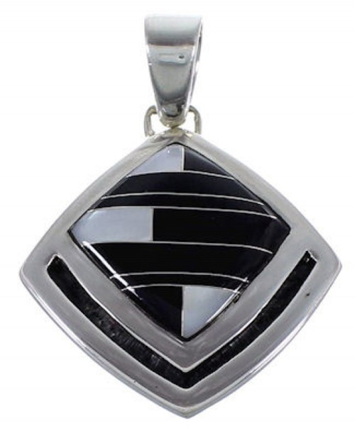 Sterling Silver Mother Of Pearl Black Jade Jewelry Pendant RS42808