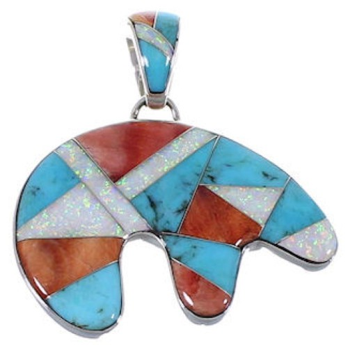 Multicolor Inlay Sterling Silver Bear Whiterock Pendant AS33329