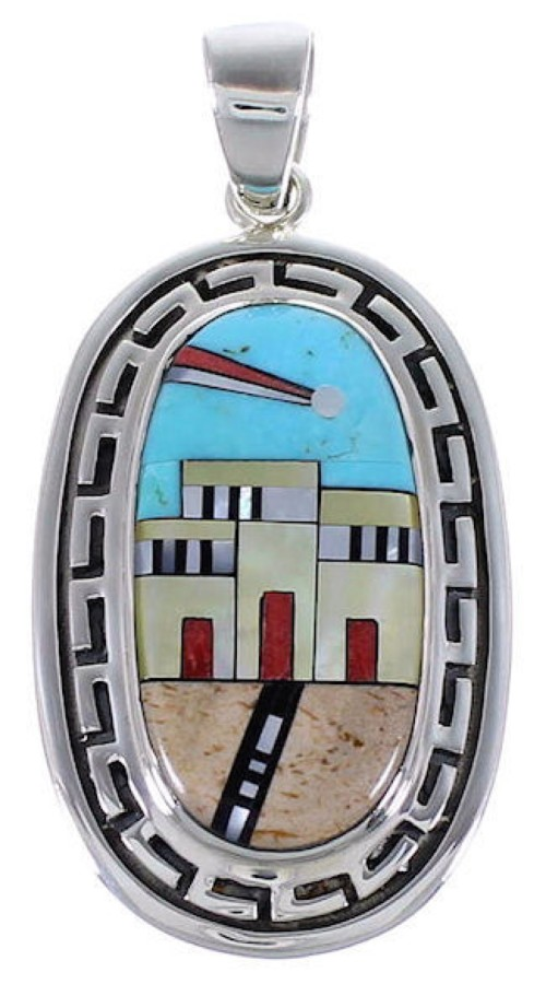 Native American Village Design Silver Multistone Pendant HS40959