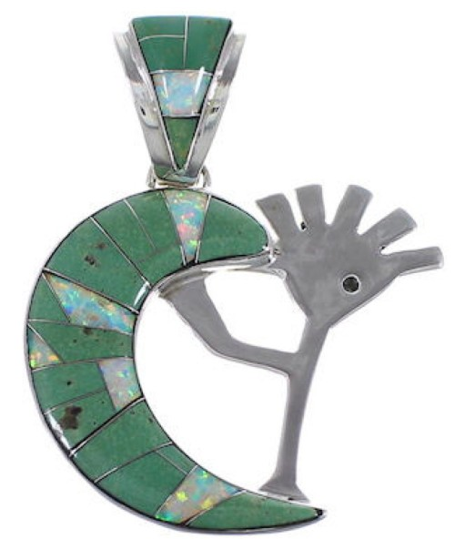 Turquoise Opal Whiterock Sterling Silver Kokopelli Pendant RS36162
