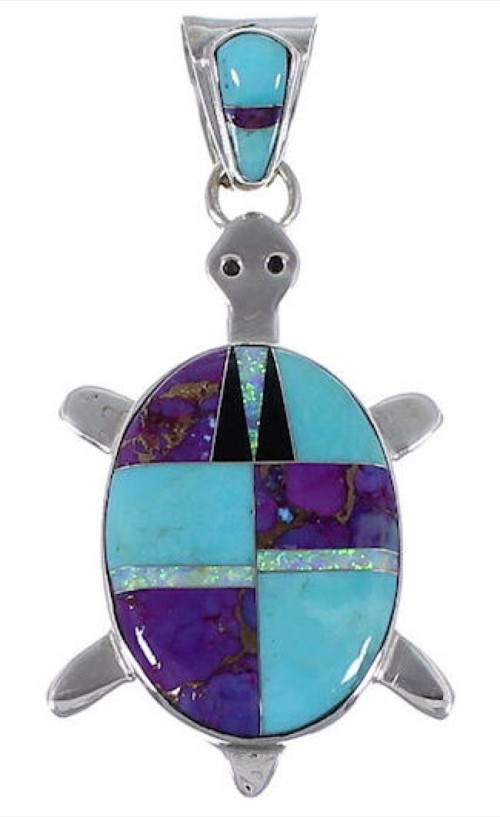 Turquoise And Multicolor Turtle Sterling Silver Pendant AS35185