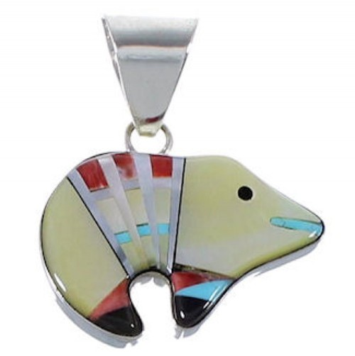 Multicolor Mother Of Pearl Sterling Silver Bear Slide Pendant RS40997