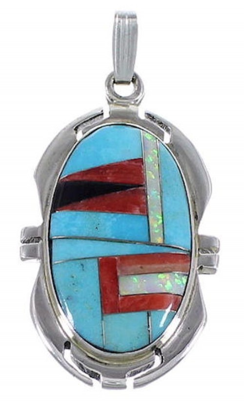 Turquoise Multicolor Inlay Pendant Silver Jewelry TS56637