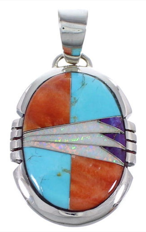 Genuine Sterling Silver Turquoise Opal And Multicolor Pendant DS39487