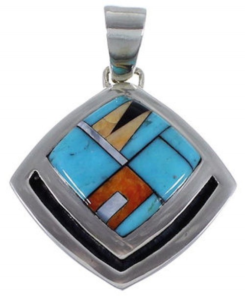 Multicolor Inlay Genuine Sterling Silver Pendant RS42810