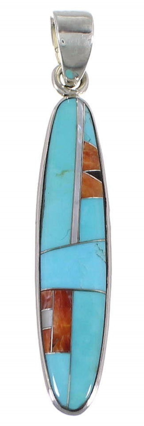 Turquoise And Multicolor Inlay Sterling Silver Pendant DS39423