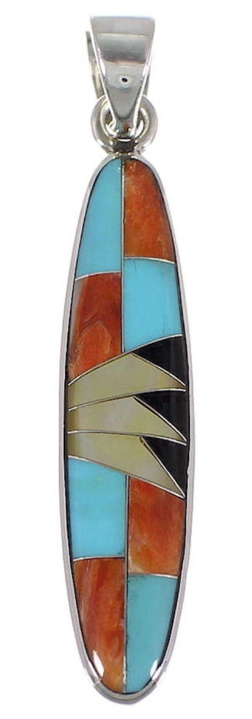 Turquoise And Multicolor Inlay Sterling Silver Pendant NS51418