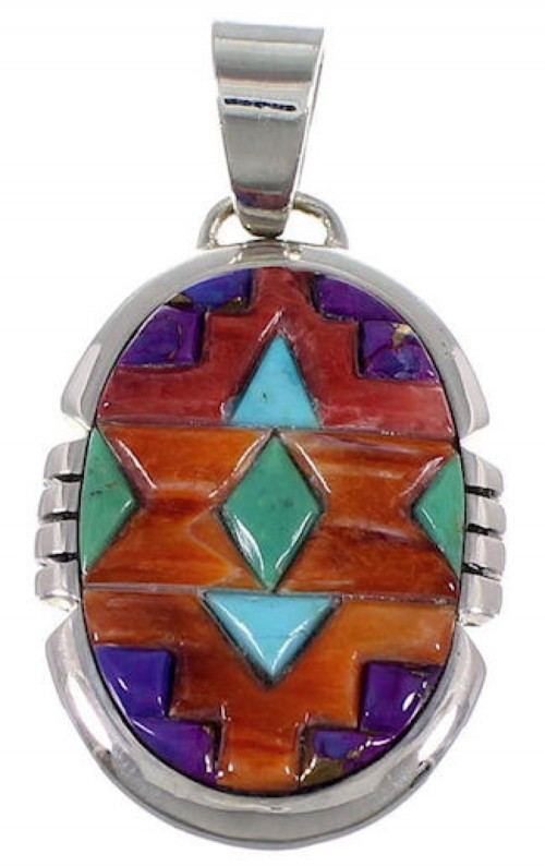 Sterling Silver Jewelry Turquoise Multicolor Slide Pendant DS39470