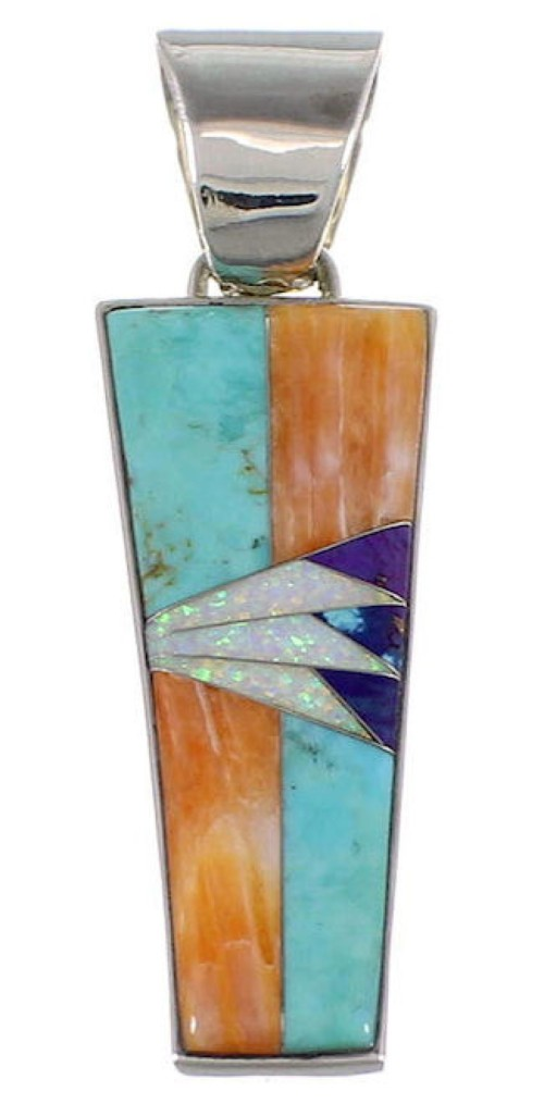 Turquoise Multicolor Inlay Genuine Sterling Silver Pendant AS34464