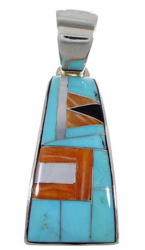 Turquoise Multicolor Sterling Silver Jewelry Slide Pendant RS39534